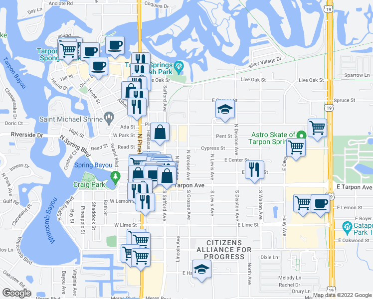 map of restaurants, bars, coffee shops, grocery stores, and more near 227 North Grosse Avenue in Tarpon Springs