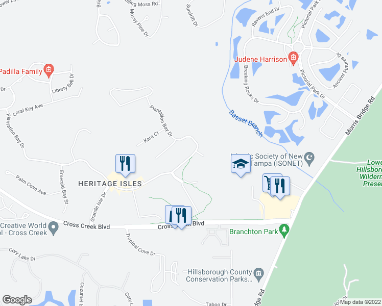 map of restaurants, bars, coffee shops, grocery stores, and more near 10748 Plantation Bay Drive in Tampa