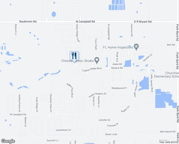 map of restaurants, bars, coffee shops, grocery stores, and more near 3004 Wentworth Place in Lakeland