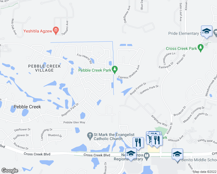 map of restaurants, bars, coffee shops, grocery stores, and more near 9748 Fox Chapel Road in Tampa