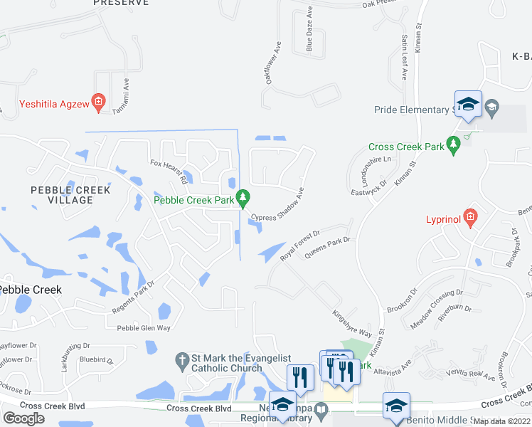 map of restaurants, bars, coffee shops, grocery stores, and more near 9902 Cypress Shadow Avenue in Tampa