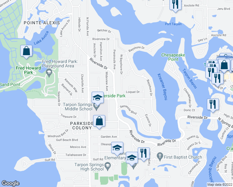 map of restaurants, bars, coffee shops, grocery stores, and more near 830 Riverside Drive in Tarpon Springs