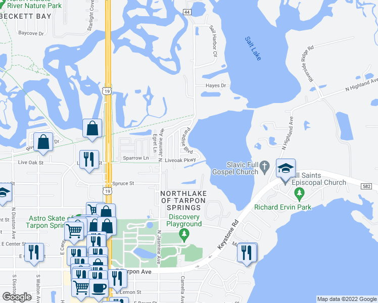 map of restaurants, bars, coffee shops, grocery stores, and more near Paradise Blvd & Travis Ct in Tarpon Springs