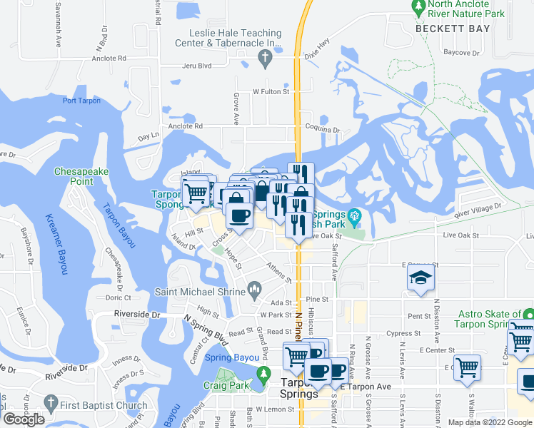 map of restaurants, bars, coffee shops, grocery stores, and more near 509 Dodecanese Boulevard in Tarpon Springs