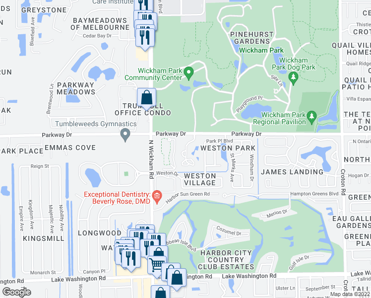 map of restaurants, bars, coffee shops, grocery stores, and more near 3099 Park Village Way in Melbourne