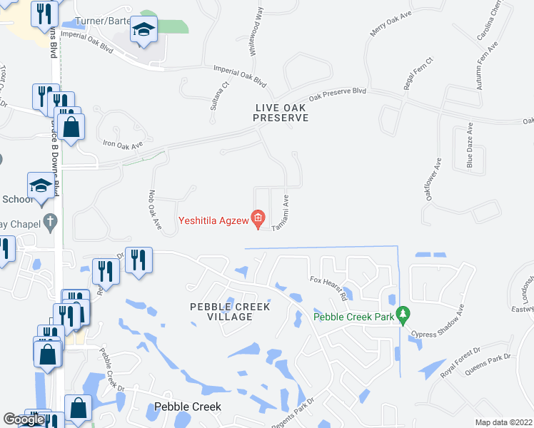 map of restaurants, bars, coffee shops, grocery stores, and more near 20010 Daytona Way in Tampa