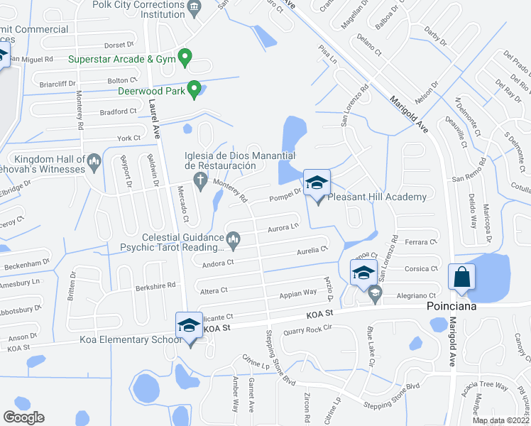 map of restaurants, bars, coffee shops, grocery stores, and more near 105 Aurora Lane in Kissimmee
