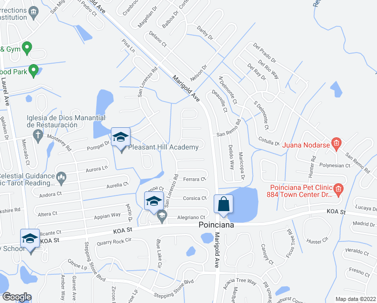 map of restaurants, bars, coffee shops, grocery stores, and more near 335 Medina Court in Kissimmee