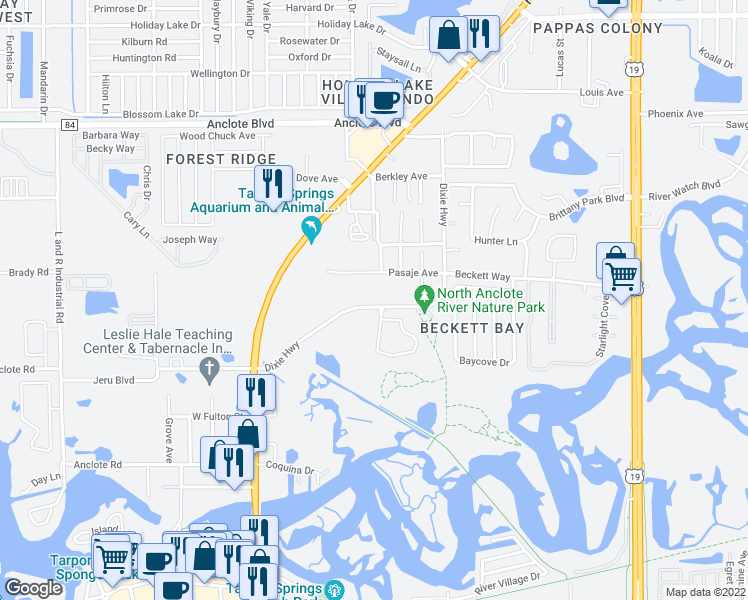 map of restaurants, bars, coffee shops, grocery stores, and more near 439 Dixie Highway in Tarpon Springs