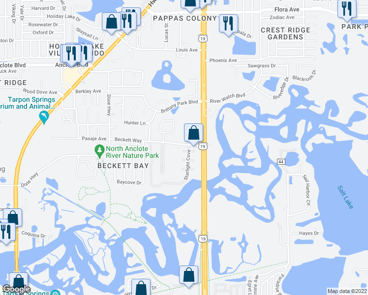 map of restaurants, bars, coffee shops, grocery stores, and more near 1589 Starlight Cove in Tarpon Springs