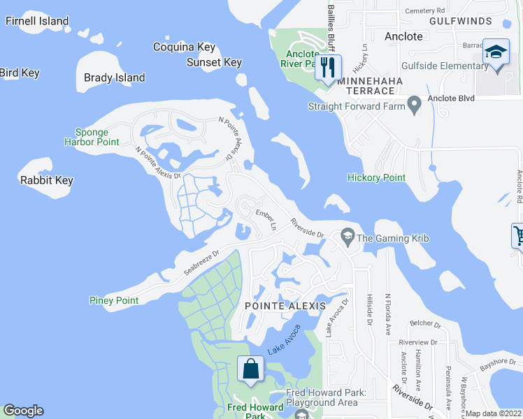 map of restaurants, bars, coffee shops, grocery stores, and more near 1579 Ember Lane in Tarpon Springs