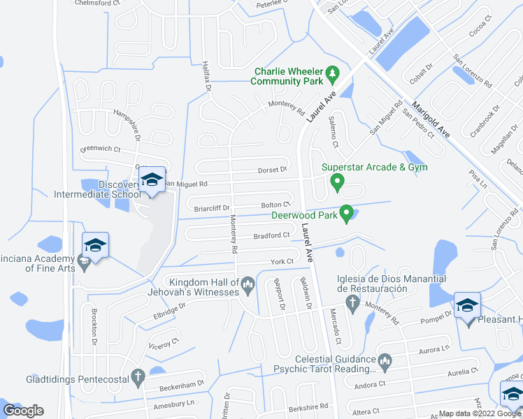 map of restaurants, bars, coffee shops, grocery stores, and more near 16 Bolton Court in Kissimmee