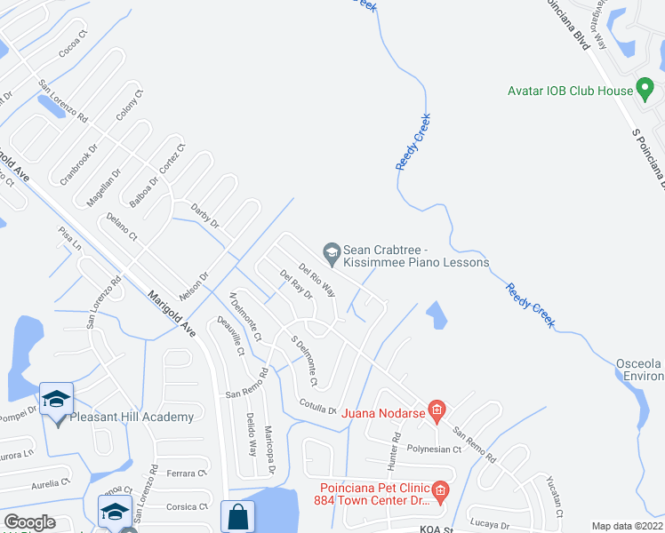 map of restaurants, bars, coffee shops, grocery stores, and more near 788 Del Prado Drive in Kissimmee