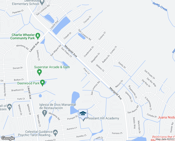 map of restaurants, bars, coffee shops, grocery stores, and more near 851 Pisa Lane in Kissimmee