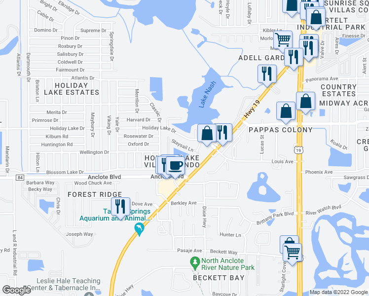 map of restaurants, bars, coffee shops, grocery stores, and more near 3840 Staysail Lane in Holiday