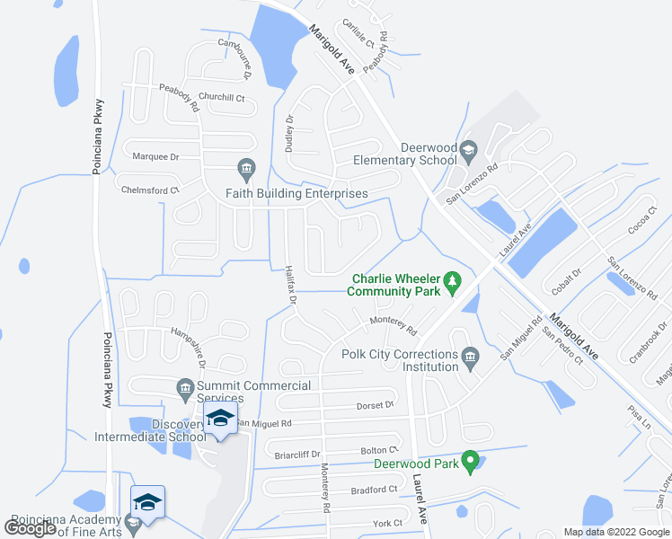 map of restaurants, bars, coffee shops, grocery stores, and more near 961 Derbyshire Drive in Kissimmee