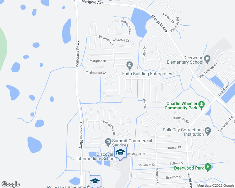 map of restaurants, bars, coffee shops, grocery stores, and more near 924 Cambridge Court in Kissimmee
