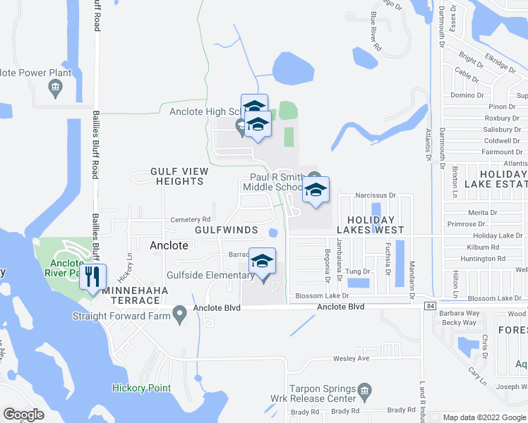 map of restaurants, bars, coffee shops, grocery stores, and more near 2338 Swordfish Avenue in Holiday