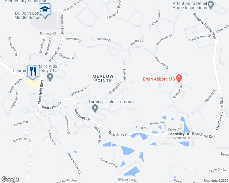 map of restaurants, bars, coffee shops, grocery stores, and more near 1452 Baythorn Drive in Wesley Chapel