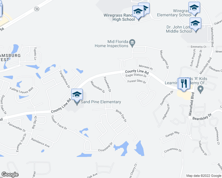 map of restaurants, bars, coffee shops, grocery stores, and more near 1550 Firewheel Drive in Wesley Chapel