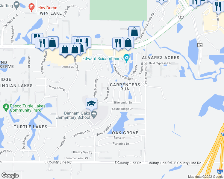 map of restaurants, bars, coffee shops, grocery stores, and more near 1615 Tailor Road in Lutz
