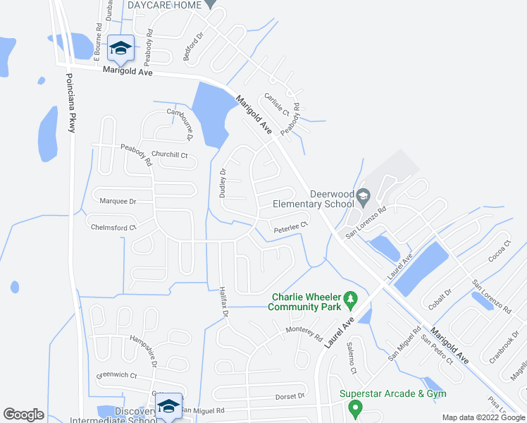 map of restaurants, bars, coffee shops, grocery stores, and more near 2 Coventry Court in Kissimmee