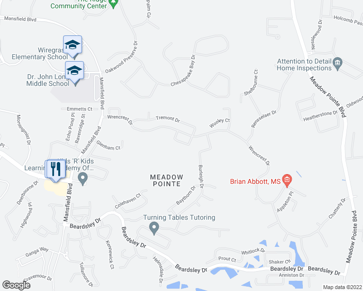map of restaurants, bars, coffee shops, grocery stores, and more near 30638 Nickerson Loop in Wesley Chapel