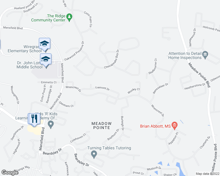 map of restaurants, bars, coffee shops, grocery stores, and more near 30653 Tremont Drive in Wesley Chapel
