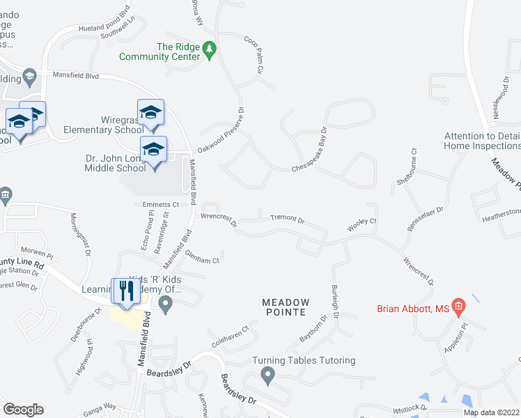 map of restaurants, bars, coffee shops, grocery stores, and more near 1941 Fellsway Court in Wesley Chapel