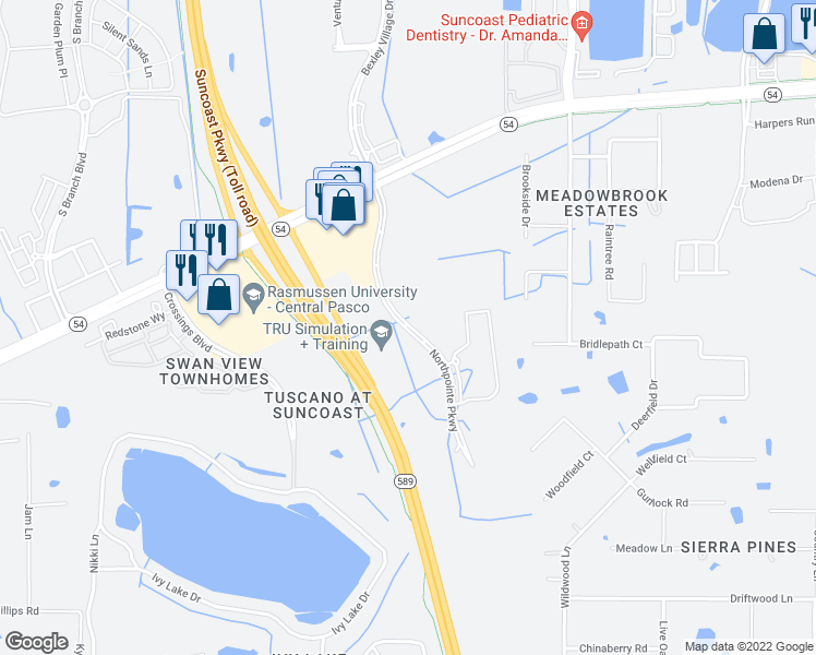 map of restaurants, bars, coffee shops, grocery stores, and more near 1700 Northpointe Parkway in Lutz