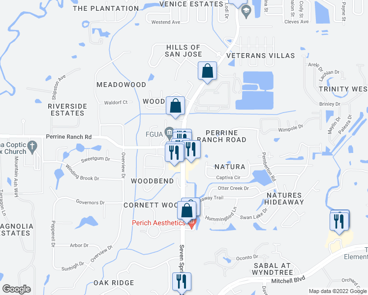 map of restaurants, bars, coffee shops, grocery stores, and more near 7 Springs Blvd & Perrine Ranch Rd in New Port Richey