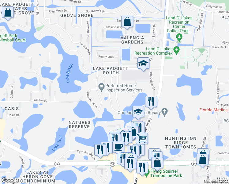 map of restaurants, bars, coffee shops, grocery stores, and more near 2603 Martha Lane in Land O' Lakes