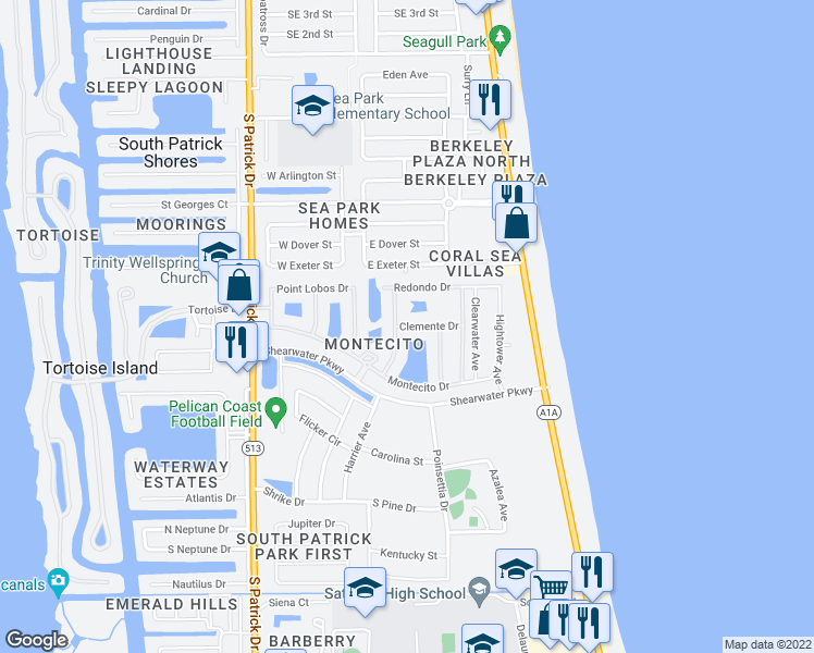 map of restaurants, bars, coffee shops, grocery stores, and more near 112 Clemente Drive in Satellite Beach