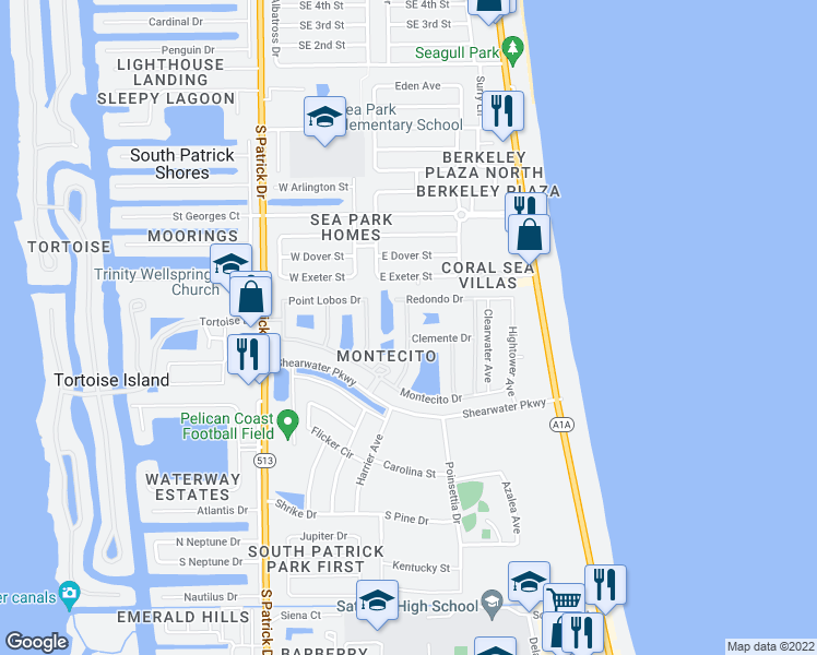 map of restaurants, bars, coffee shops, grocery stores, and more near 679 Ventura Drive in Satellite Beach