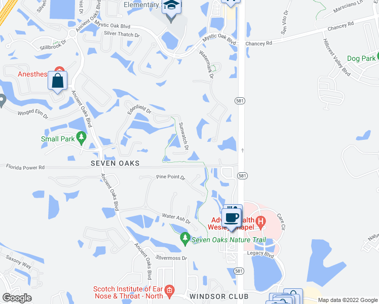 map of restaurants, bars, coffee shops, grocery stores, and more near 3048 Sunwatch Drive in Wesley Chapel