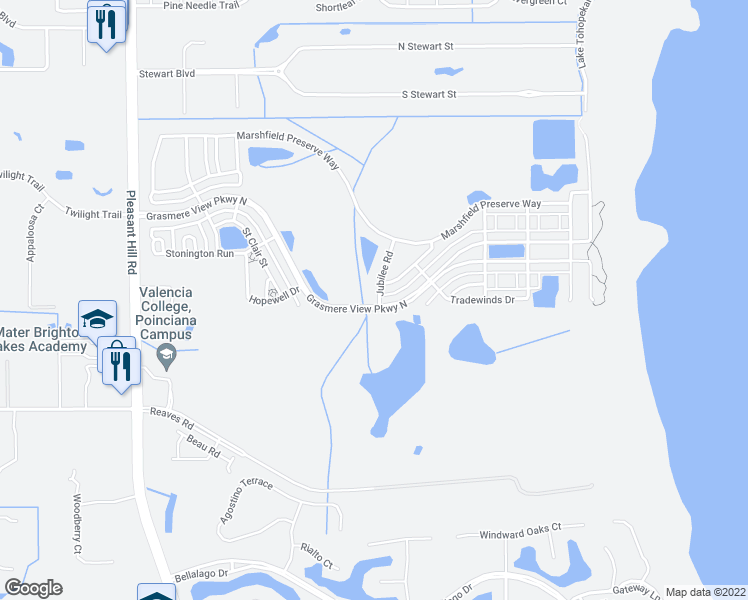 map of restaurants, bars, coffee shops, grocery stores, and more near 3298 Jubilee Road in Kissimmee