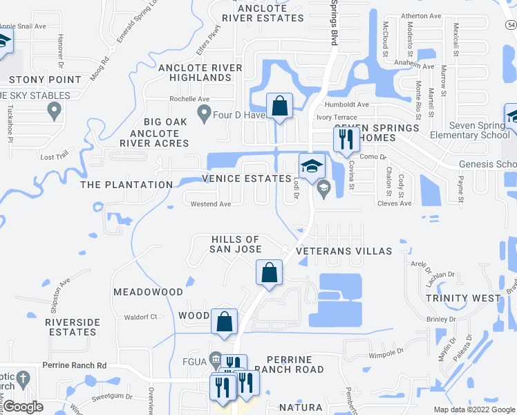 map of restaurants, bars, coffee shops, grocery stores, and more near 7048 Wheeler Way in New Port Richey