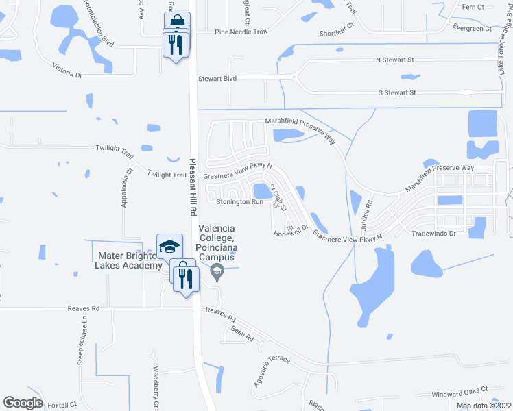 map of restaurants, bars, coffee shops, grocery stores, and more near 3030 Stonington Run in Kissimmee