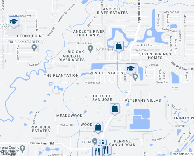 map of restaurants, bars, coffee shops, grocery stores, and more near 3128 Latrobe Street in New Port Richey