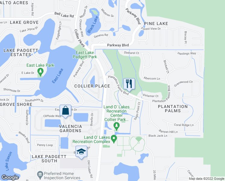 map of restaurants, bars, coffee shops, grocery stores, and more near 3346 Coconut Grove Road in Land O' Lakes