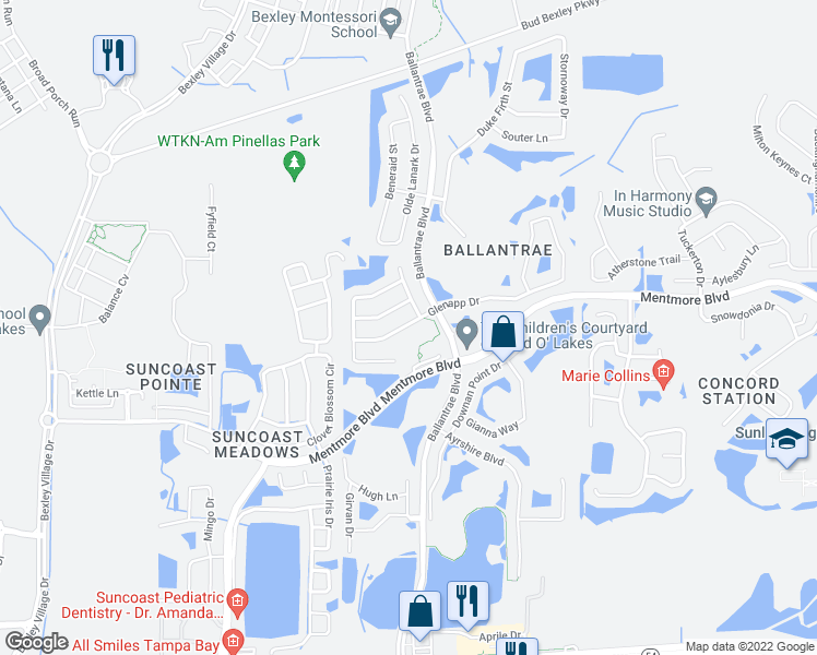 map of restaurants, bars, coffee shops, grocery stores, and more near 17608 Glenapp Drive in Land O' Lakes