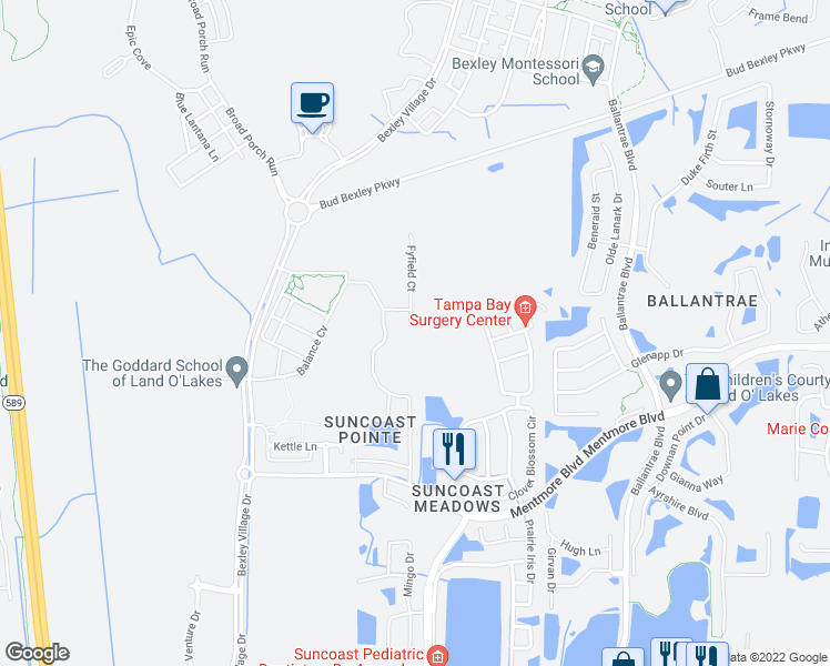 map of restaurants, bars, coffee shops, grocery stores, and more near 3438 Fyfield Court in Land O' Lakes