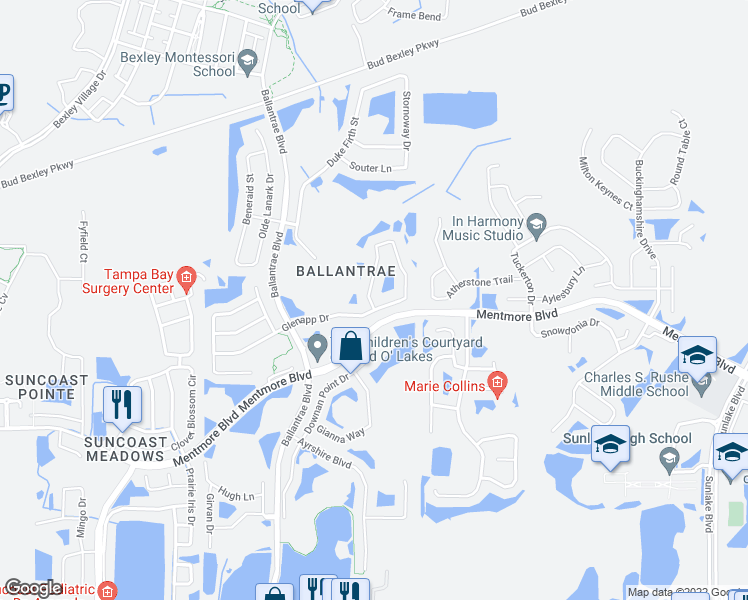 map of restaurants, bars, coffee shops, grocery stores, and more near 17901 Glenapp Drive in Land O' Lakes