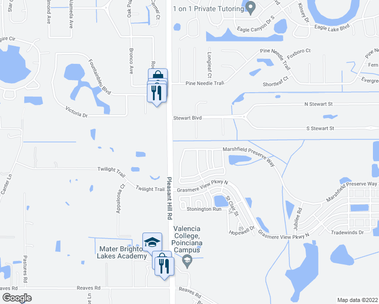 map of restaurants, bars, coffee shops, grocery stores, and more near 3110 Marshfield Preserve Way in Kissimmee