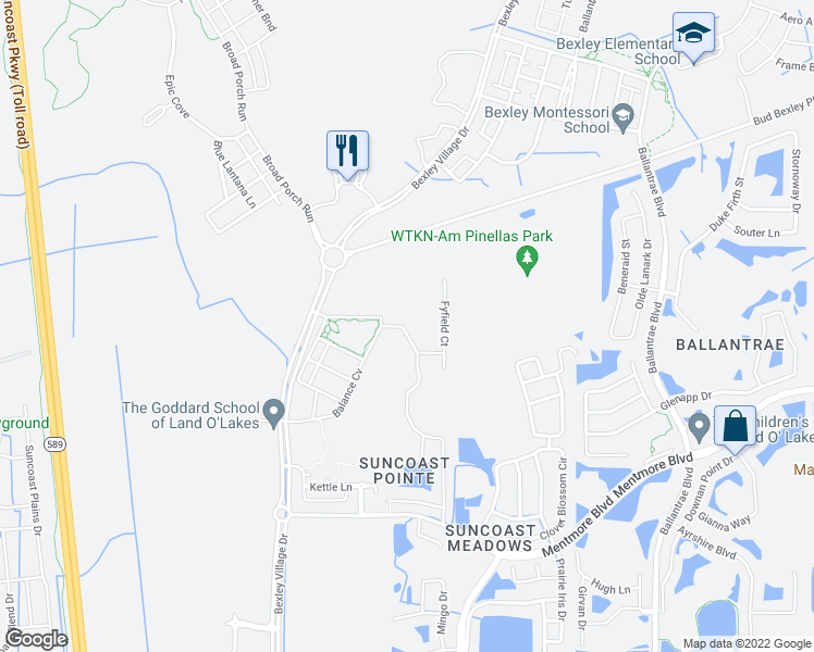 map of restaurants, bars, coffee shops, grocery stores, and more near 17017 Lixberry Way in Land O' Lakes