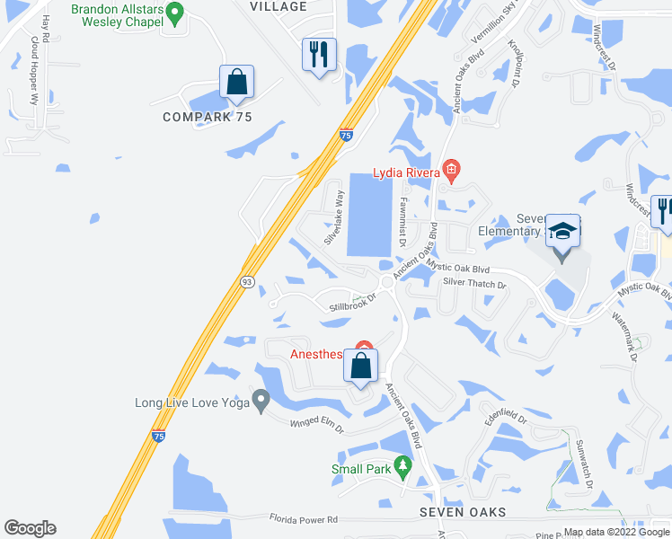 map of restaurants, bars, coffee shops, grocery stores, and more near 26952 Juniper Bay Drive in Wesley Chapel