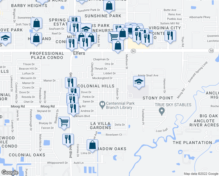 map of restaurants, bars, coffee shops, grocery stores, and more near 3634 Warbler Drive in New Port Richey