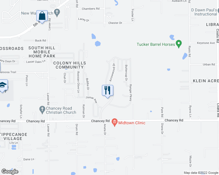 map of restaurants, bars, coffee shops, grocery stores, and more near 3835 Southport Springs Parkway in Zephyrhills