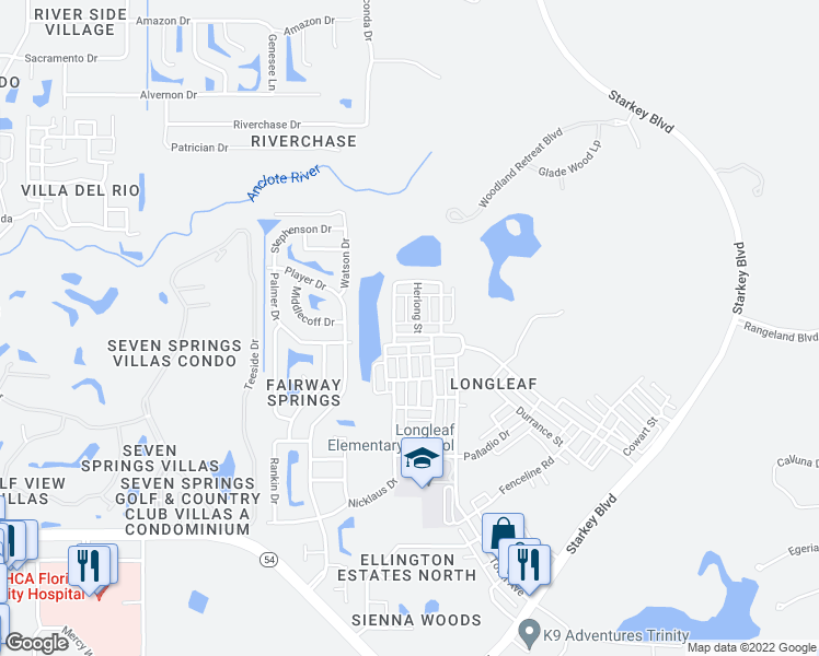 map of restaurants, bars, coffee shops, grocery stores, and more near 3730 Herlong Street in New Port Richey