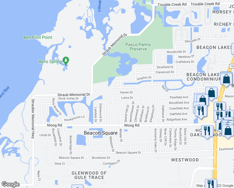 map of restaurants, bars, coffee shops, grocery stores, and more near 3650 Haven Drive in New Port Richey